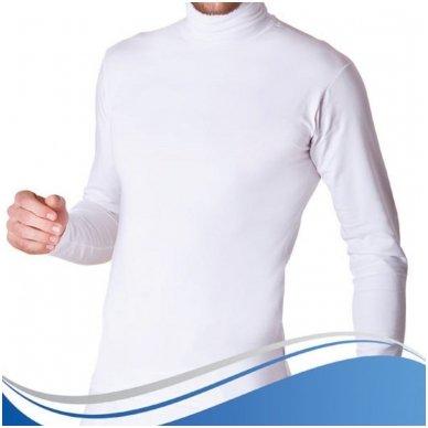 Marškinėliai aukštu kaklu (golfas) ilgomis rankovėmis su elastanu