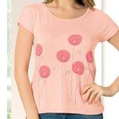 Marškinėliai KAMELIJA 23627. Juoda, tamsiai mėlyna ir rožinė spalvos.
