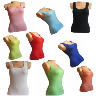 Vienspalvės moteriškos palaidinės be rankovių S/M